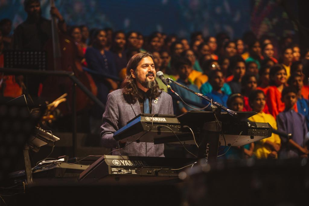 Musician Ricky Kej performing for environmental protection